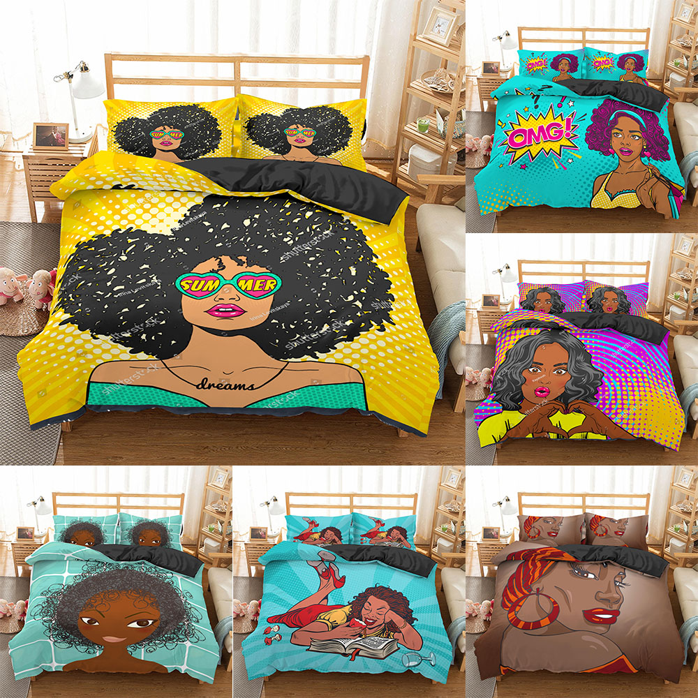 homesky african woman bedding set quilt cover set twin full queen king size duvet cover bedspread 100 microfiber bed linen