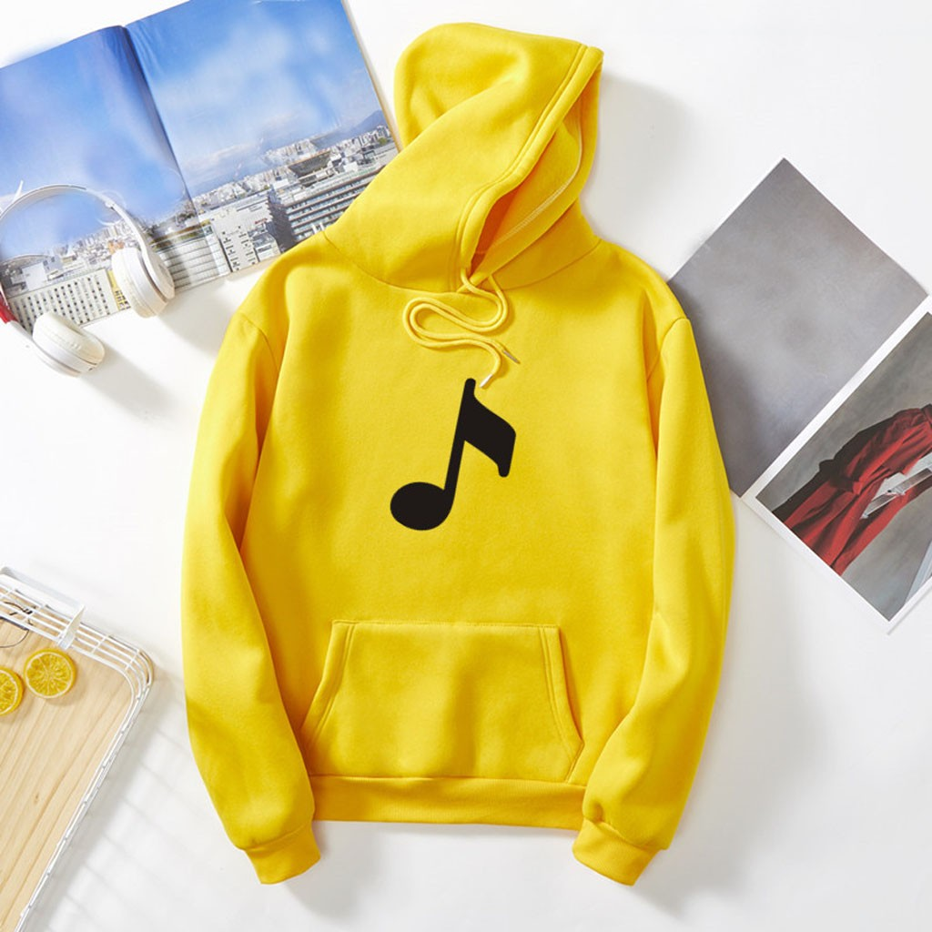 Autumn Women Hoodies Musical Symbol Print Sweatshirts Harajuku Fashion Kawaii Tops Hip Hop Casual Sweatshirt Street Women's/Men