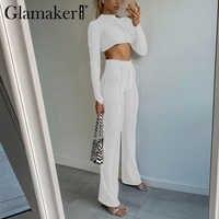 Glamaker-Conjunto de 2 piezas formado por top y pantalón corto, informal, para Fitness, para invierno y otoño