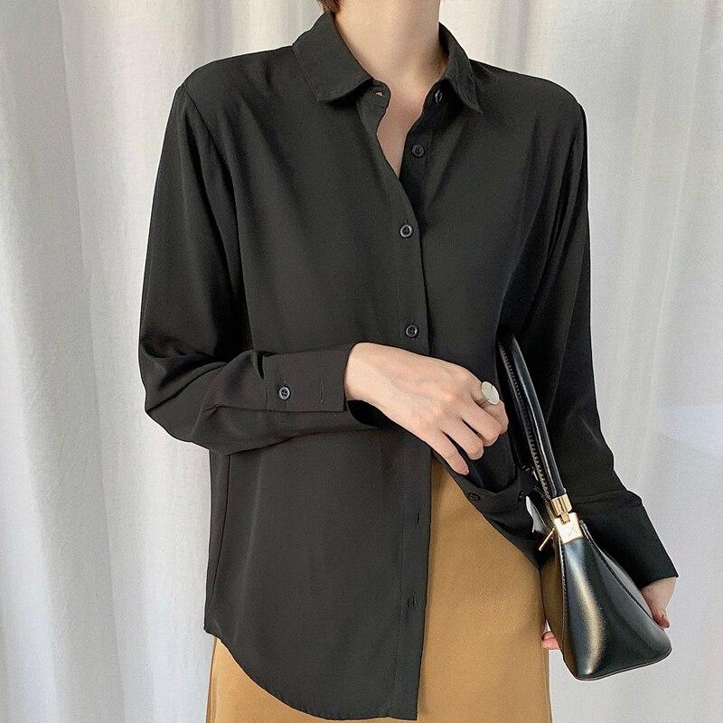 Винтажные шифоновые рубашки, свободные блузы с отложным воротником и пуговицами спереди, женские универсальные топы и блузки, blusa feminina|Блузки|   | АлиЭкспресс