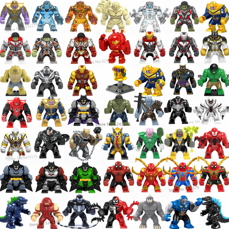 Marvel Avengers Hulk Thanos Iron Man Batman Venom Wolverine Super Heroes Figure Building Blocks Set di Giocattoli Per I Regali Dei Bambini