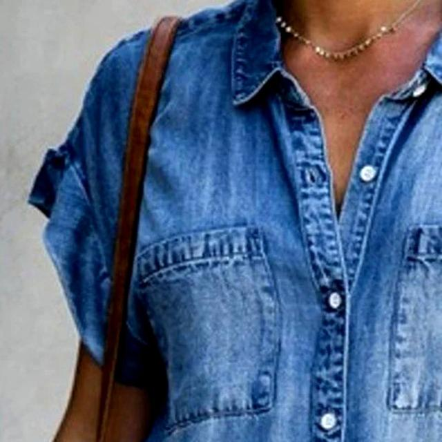 Women's Summer Fashion Solid Turn Down Neck Blue Jeans Denim Shirt Dress Short Sleeve Pockets Single-breasted Women's Jean Dress 4