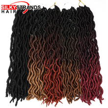 Hair-Extensions Crochet Hair Faux-Locs Synthetic 20inch Fiber Curly Ombre for Women 24-Strands
