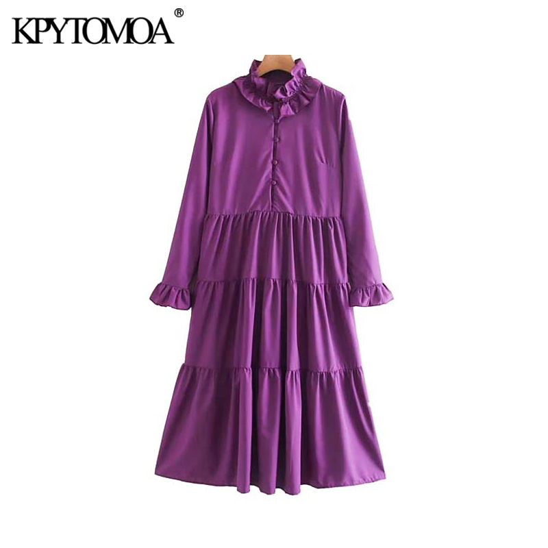 Vintage Elegant Ruffles Pleated Midi Dress Women 2020 Fashion Ruffled Collar Long Sleeve Female Dresses Casual Vestidos Mujer