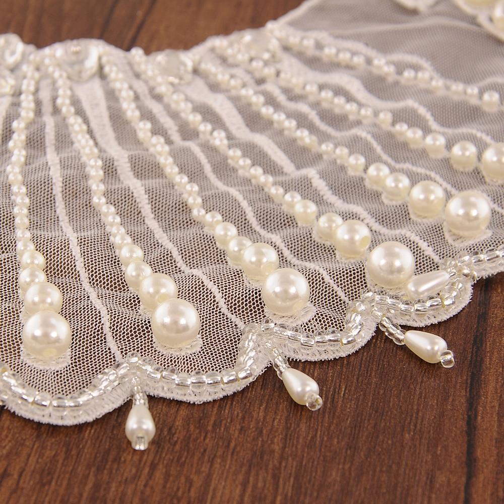TRiXY G08 Pearls Beaded wedding shawl Jacket Bolero Wrap Bridal Wedding Wrap Elegant Crystal Jewelry Lace Ivory Wedding Shawl