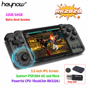 HEYNOW RK2020 Retro Handheld Game Console Open Source Linux System 3.5 inch IPS Screen PS1 N64 3D Video Game Player 32G/64G Card(China)