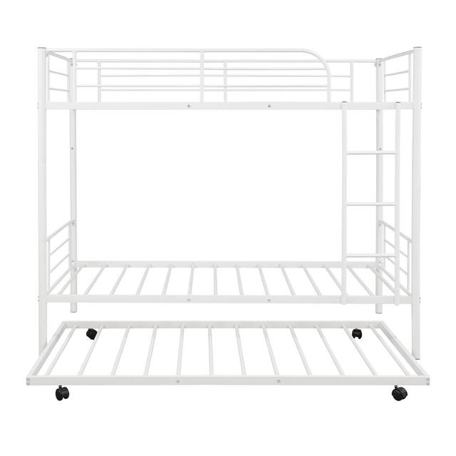 White Metal Twin Over Twin Loft Bunk Bed  3