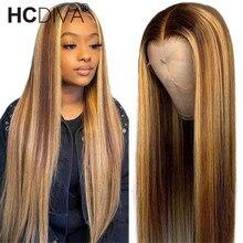 99j reta mel loira ombre destaque 13x1 frente do laço 4x4 peruca de cabelo humano remy brasileiro preplucked peruca frontal do laço para mulher