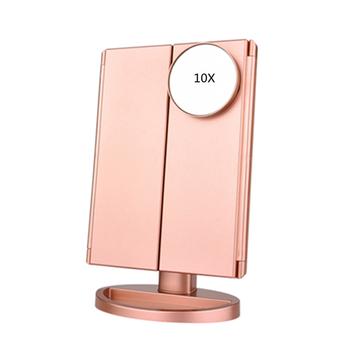 Lusterko kosmetyczne z podświetleniem led 22 światło dotykowy ekran pulpit makijaż 1X 2X 3X 10X lustro powiększające Vanity 3 składane kosmetyki lustra tanie i dobre opinie Wyposażone CN (pochodzenie) ABS + circuit board + HD mirror Lusterko do makijażu Color black white gold 3 sides makeup mirror