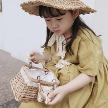 2020 Handmade Basket Children Mini Straw Woven Beach Bag Women Shoulder Bag Lady's Messenger HandBag Kids Coin Purse Travel