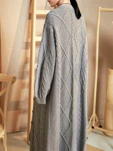 Long Cardigans Pure-Cashmere Women 100%Hand-Knitted Coat Wool Or Customize Wholesale