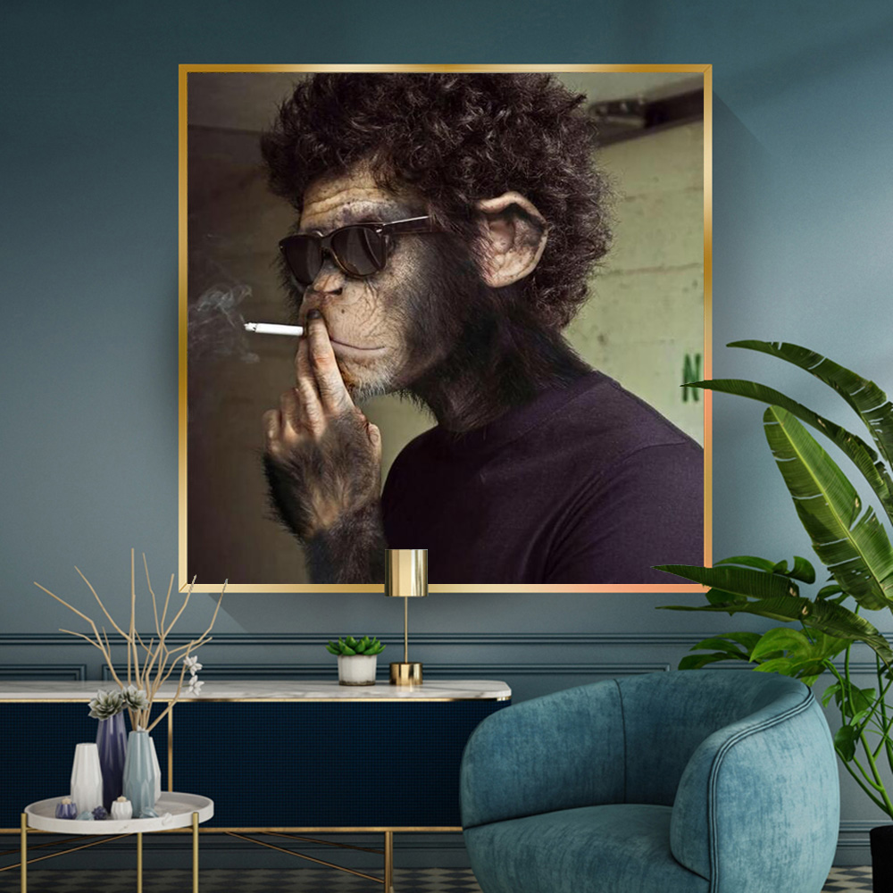 Smoking Sunglasses Monkey Funny Animal Picture Canvas Wall Art Poster And Prints Wall Painting Room Decoration Cuadros
