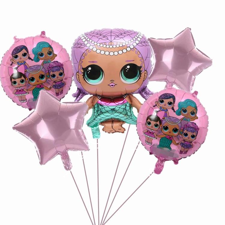 Original lol poupée surprise fête d'anniversaire enfants décoration fond ballon forme ballon film aluminium