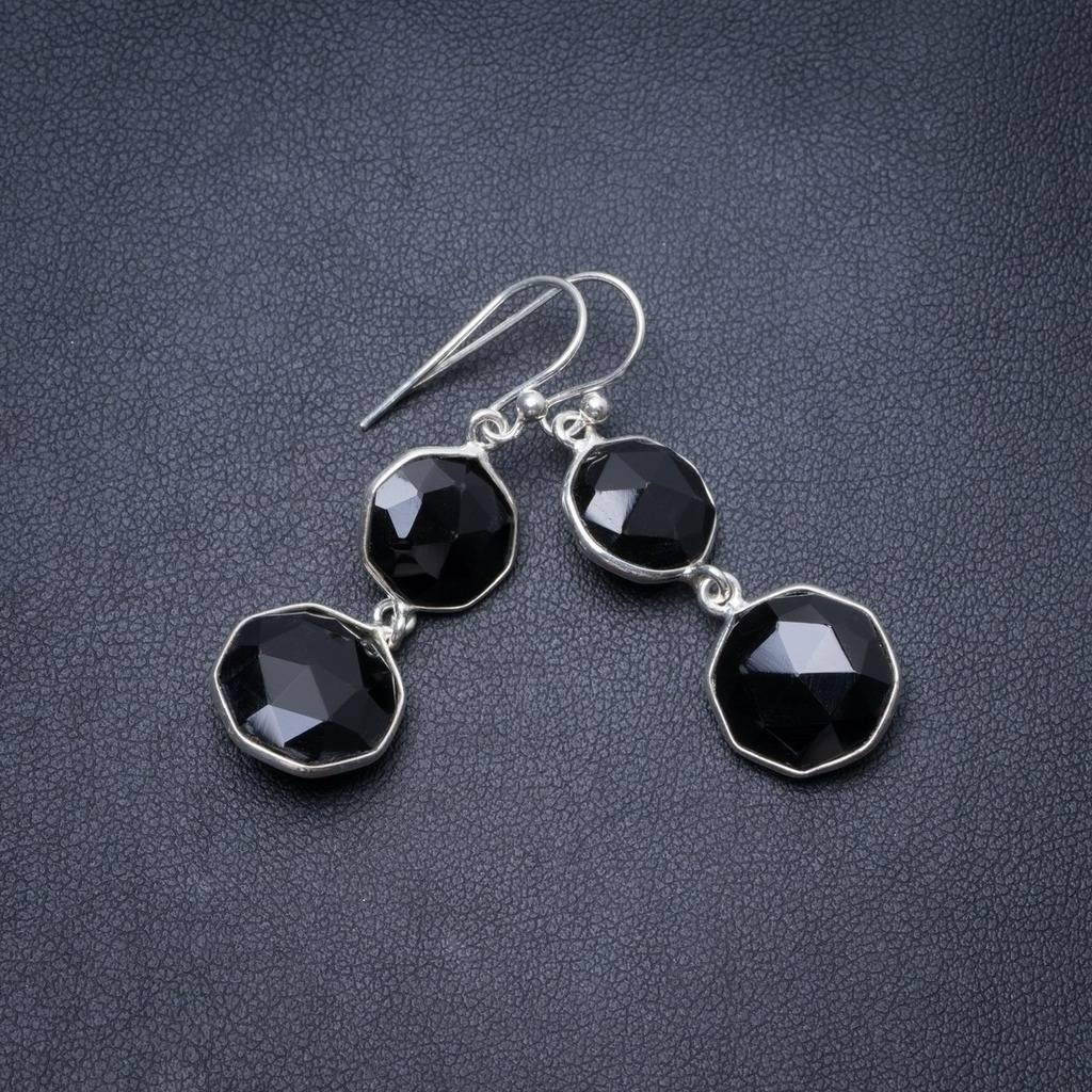 "Natural Black Onyx Handmade Unique 925 Sterling Silver Earrings 1.5"" Y3540"