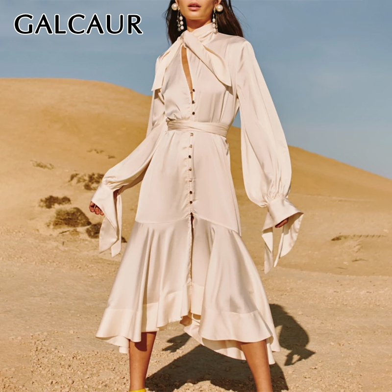 GALCAUR Asymmetrical Lace Up Dresses Female Stand Collar Flare Sleeve High Waist Hollow Out Midi Dress Womens 2020 Fashion Tide