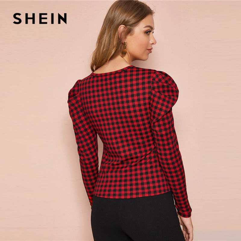 SHEIN Gingham Print Elegant T-Shirts Women Tops 2019 Autumn Korean Leg-Of-Mutton Sleeve Office Ladies Basic Tops And Tees 2