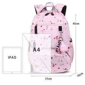 Image 2 - حقيبة ظهر مدرسية للأطفال بتصميم كوري من Fengdong حقيبة كتب للأطفال حقائب مدرسية للبنات حقيبة ظهر للكمبيوتر المحمول مقاومة للمياه حقيبة ظهر للإناث