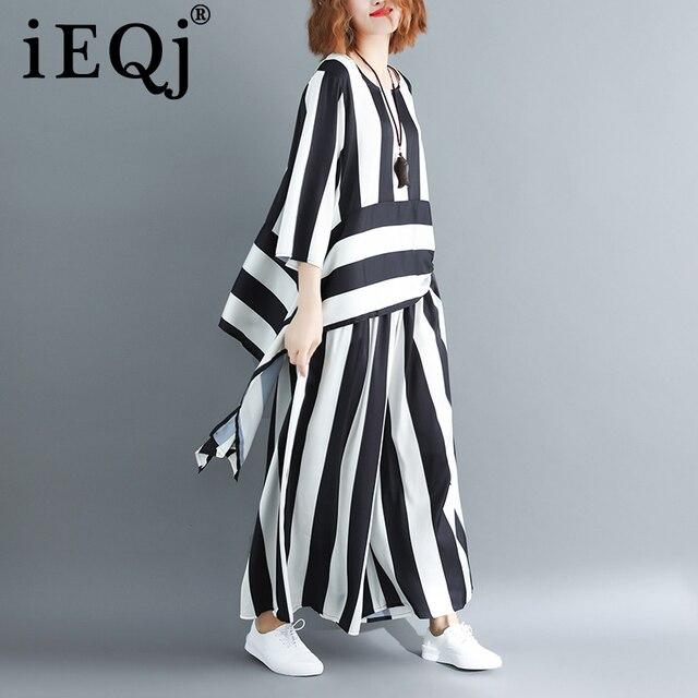 Irregular Loose Hem Stripe Shirt Elastic Suit Casual Waist Two Piece Set  1