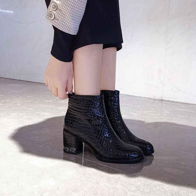 ALLBITEFO gerçek hakiki deri taş tahıl eğlence yarım çizmeler yüksek kalite moda çizmeler sonbahar kış kadın çizmeler saf renk