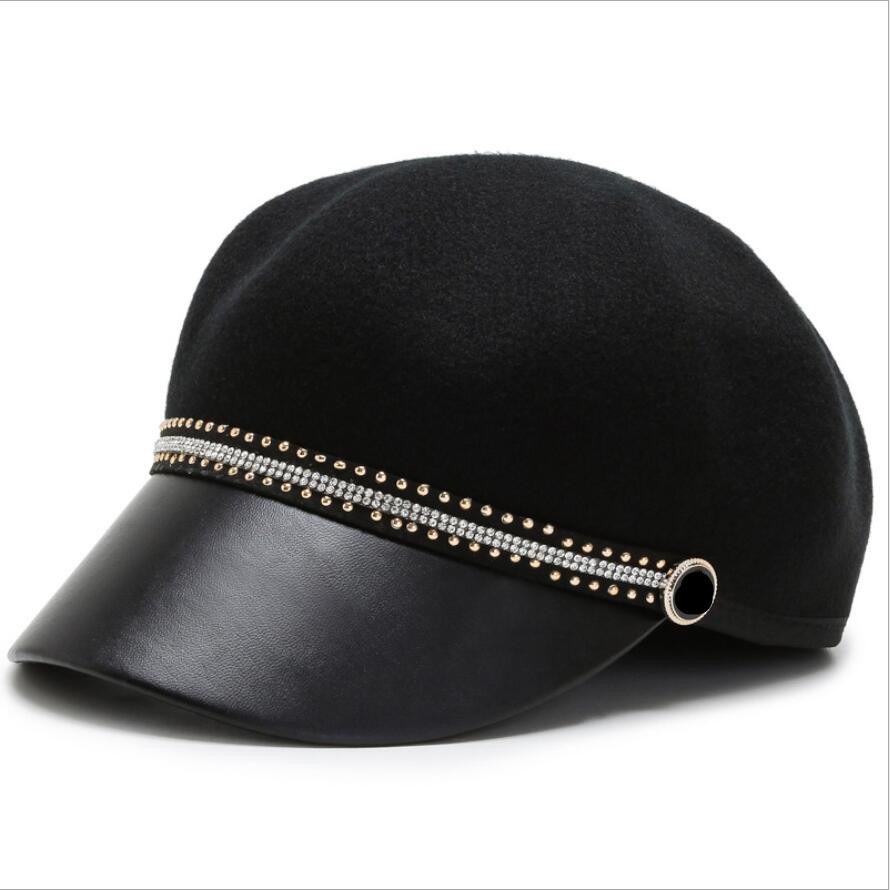 Autumn Winter Black Wool Military Berets for Women Female Flat Army Caps Salior Girl Travel Painters Hat