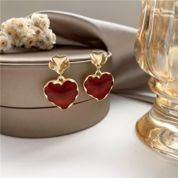 Shamir Korea Senior Feeling Wind Restoring Ancient Ways Of Metal Irregular Red Earrings Stud earrings Women Love Jewelry Gifts image
