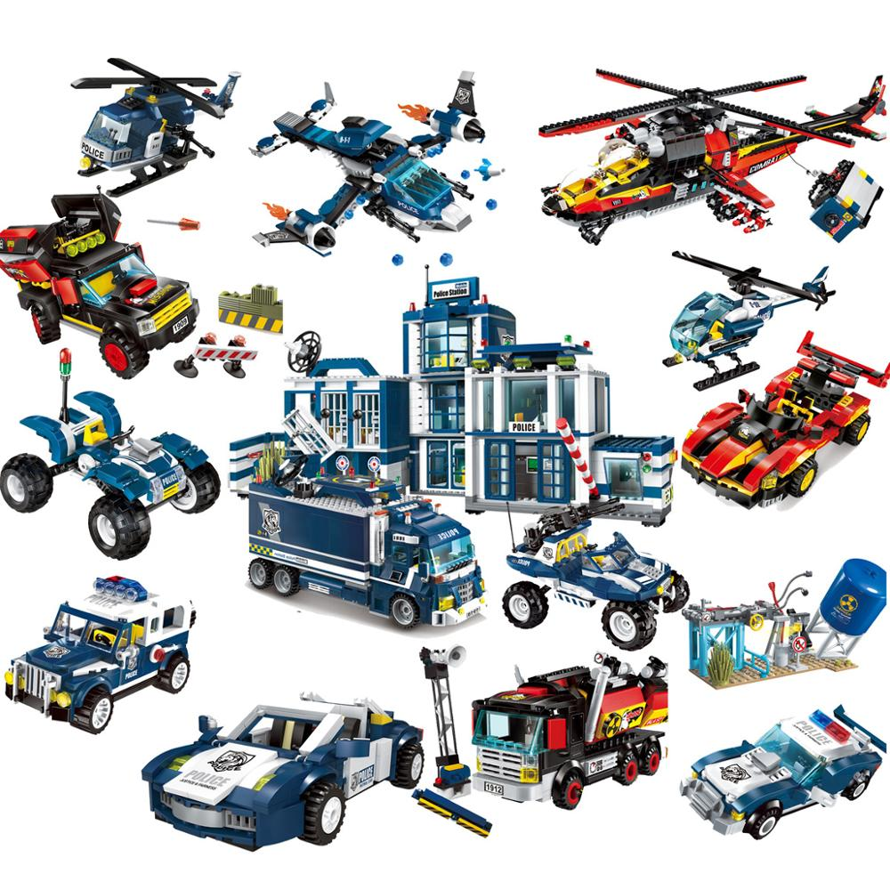 City Police Station Building Block SWAT Headquarter Helicoper Cruiser Car With Figures Bricks
