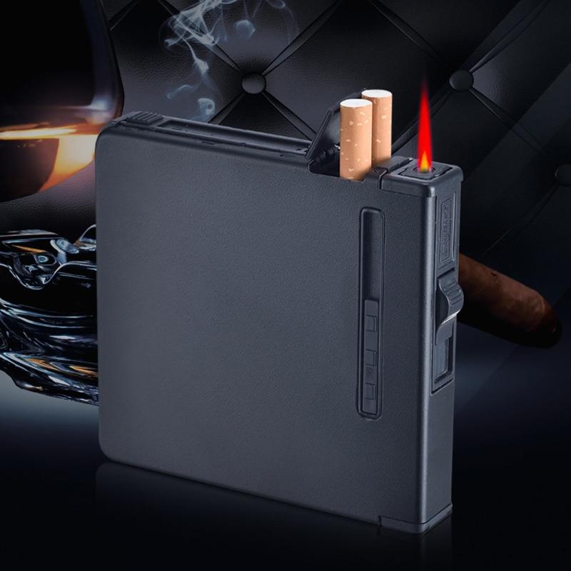 Charging Metal Automatic Cigarette Case Lighter Alloy 12pcs Cigarette Holder Smoking Box Portable Windbreak  Cigarette Box