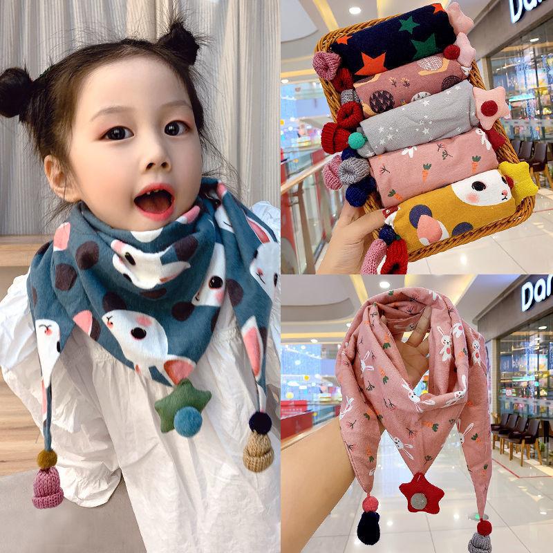 Baby Girls Dot Plaid Triangle bib Autumn Winter Boys  Shawl Children Cotton Neck Collars Warm Kids Cute Fur Ball Warm Scarves