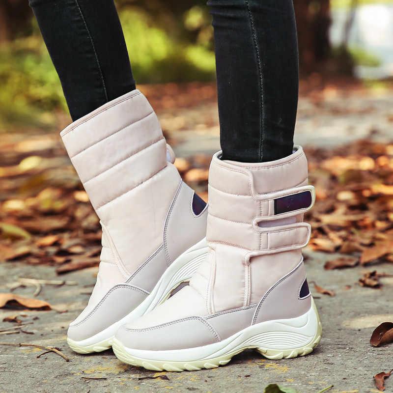 MORAZORA 2020 kar botları su geçirmez kaymaz kalın kürk sıcak kış ayakkabı yuvarlak ayak düz platformu çizmeler kadın yarım çizmeler
