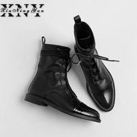 Xiuningyan Fashion Women Martin Boots Genuine Leather Lace Up Ladies Ankle Boots Handmade Soft Leather Autumn Basic Shoes Woman