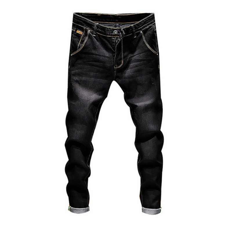 WENYUJH Stretch spodnie dżinsowe solidne dopasowane jeansy rurki męskie dorywczo Biker dżinsy męskie Street Hip Hop Vintage spodnie obcisłe spodnie