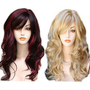Image 2 - HAIRJOY   Long  Wavy  Synthetic Hair Wig Women  Bugundy  Light Blonde Highlights  for Costume Party