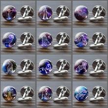 12 Constellations Cufflinks Glass Jewelry Wedding Zodiac Signs Men Cufflink Set Suit Shirt Silver Cuff Links Man Dropshipping