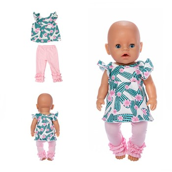 Fit 18 inch 43cm Born New Baby Doll Clothes Doll Accessories Unicorn Elk Flamingo Cactus Suit For Baby Birthday Gift born new baby doll clothes fit 18 inch 43cm doll down dress yarn skirt flamingo watermelon accessories for baby birthday gift