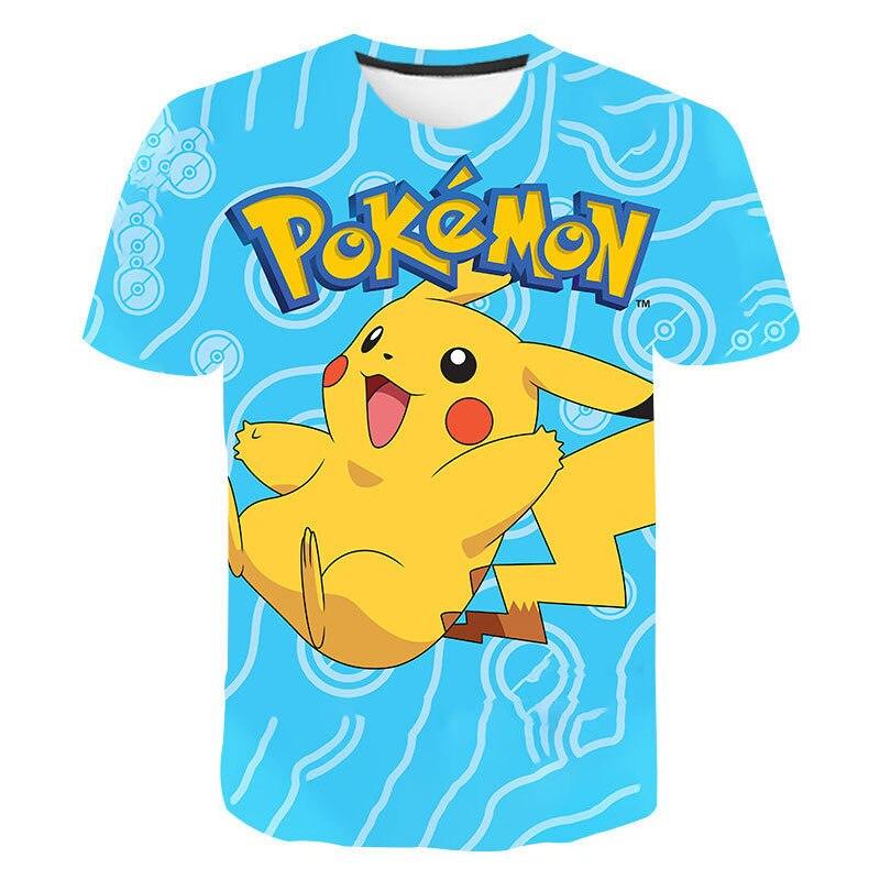 3D Pikachu Children's Clothes Summer Baby Girls Clothes Kawaii Pokemon T Shirt Kids Cute Anime Camiseta Gift Boys Clothes Tops