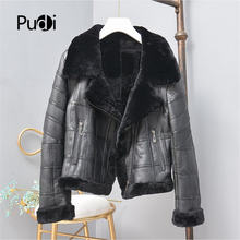 Jacket Coat Real-Sheep-Fur Women Pudi Winter TX307704 Outwear Motorcycle Leisure Female