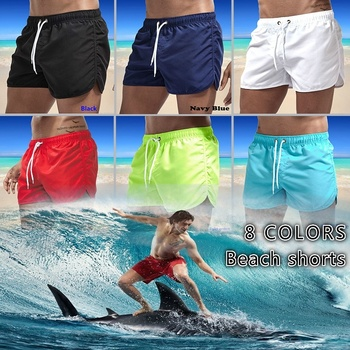 2020 Men Beach Shorts Solid Color Summer Swimming Board Surfing Sport Breathable Quick Dry Swim Male S-3XL Plus Size