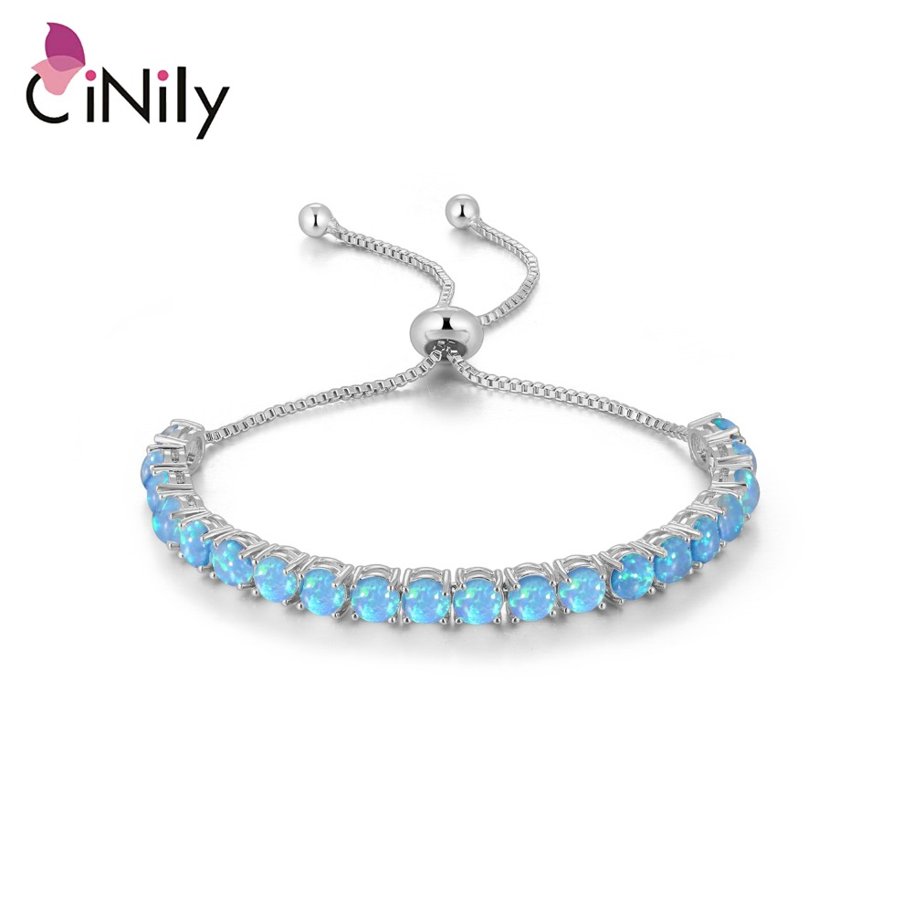 CiNily Blue & White Fire Opal Round Stone Sliding Chain Bracelet Silver Plated Adjustable Brace Lace Bohemia BOHO Jewelry Girls