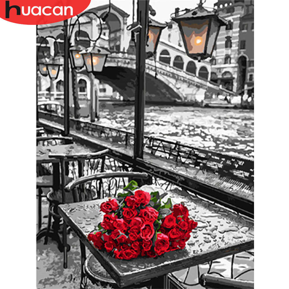 HUACAN Pictures By Numbers Oil Painting Rose Flowers HandPainted Coloring Drawing Gift Kits Canvas DIY Home Decoration