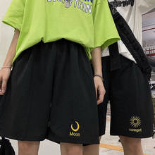 Summer Women Loose Solid Wide-leg Harajuku Casual Simple All-match Женские штаны black Large size Sun and moon embroidery Shorts