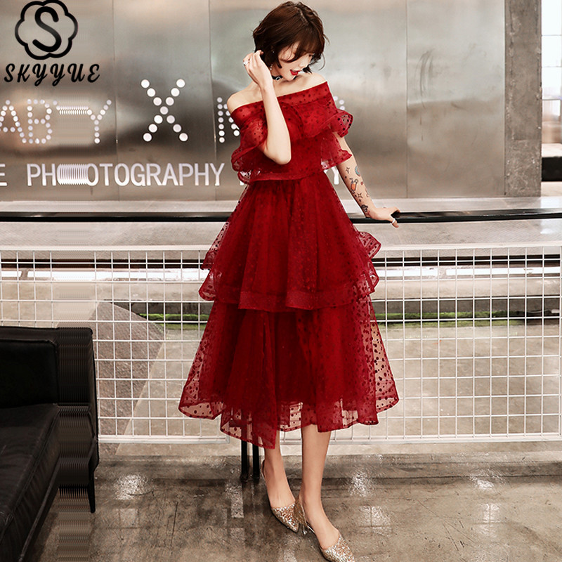 Skyyue Cocktail Dress Tiered Plus Size Cocktail Dresses 2019 Short Sleeve Party Woman Sexy Off The Shoulder Robe Cocktail E718