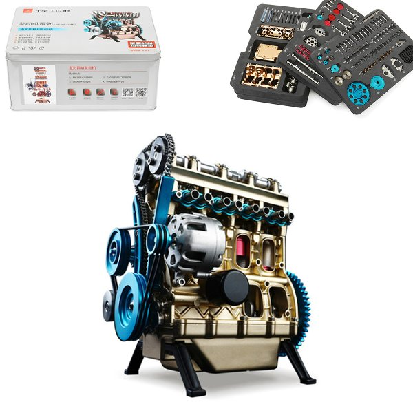Teching 1:24 Four-Cylinder Engining Full Aluminium Alloy Model Collection Educational Adult Toys Teaching Toys For Kids