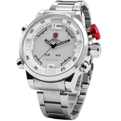 Gulper SHARK Sport Watch Stainless Full Steel Silver Japan Movement Dual Time Date Alarm Quartz Mens Digital Wristwatch / SH104