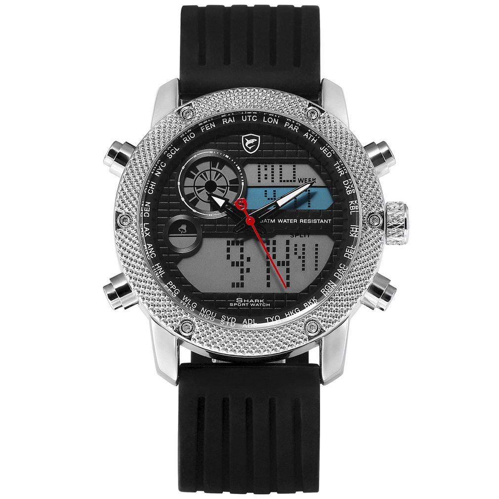 Porbeagle Shark, reloj deportivo para hombre, marca de lujo, reloj cronógrafo de silicona con fecha Digital LCD para hombre, relojes deportivos/SH585