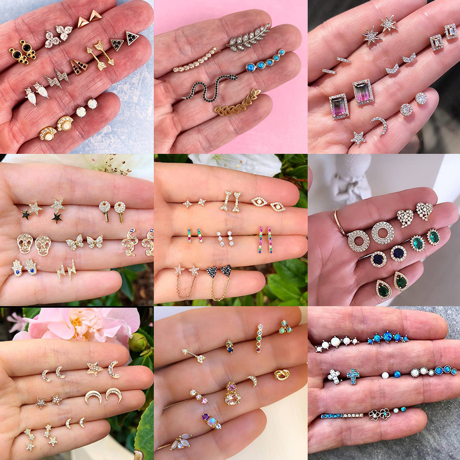 Fashion Women Earrings Set 2019 Tiny Gold Silver Geometric Crystal Moon Star Stud Earring Vintage Accesorios Mujer Boho Jewelry