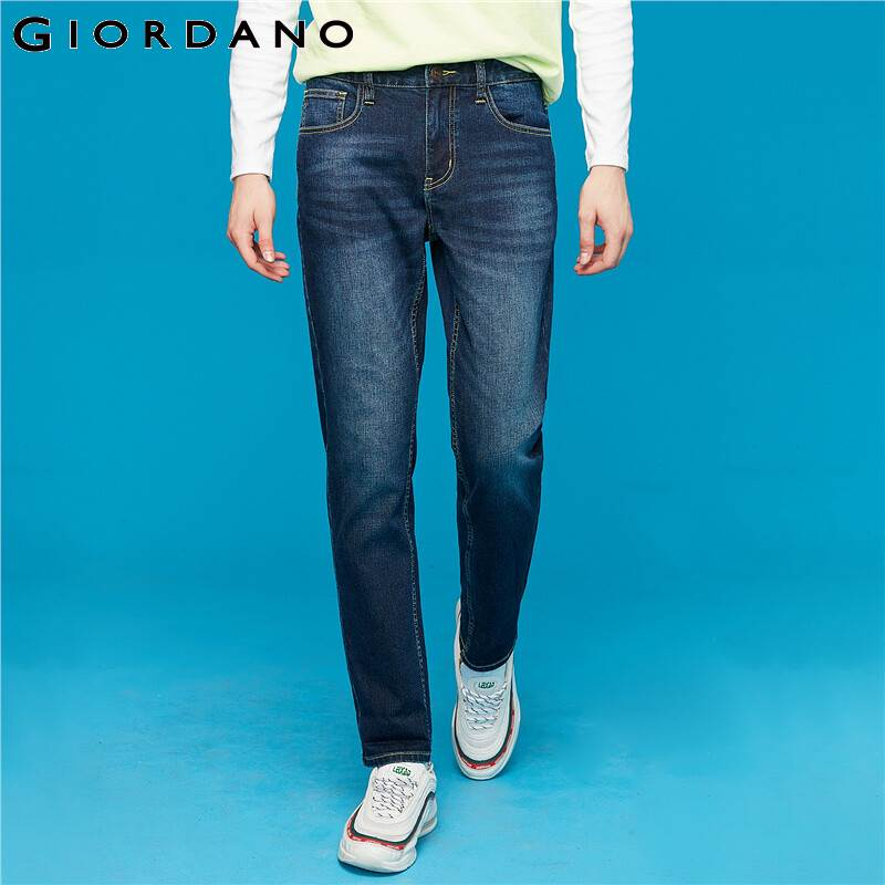 Giordano Men Jeans Mid Waist Slim Fit Denim Pants Moustache Effect Stretchy Calca Jeans Masculina 01119068