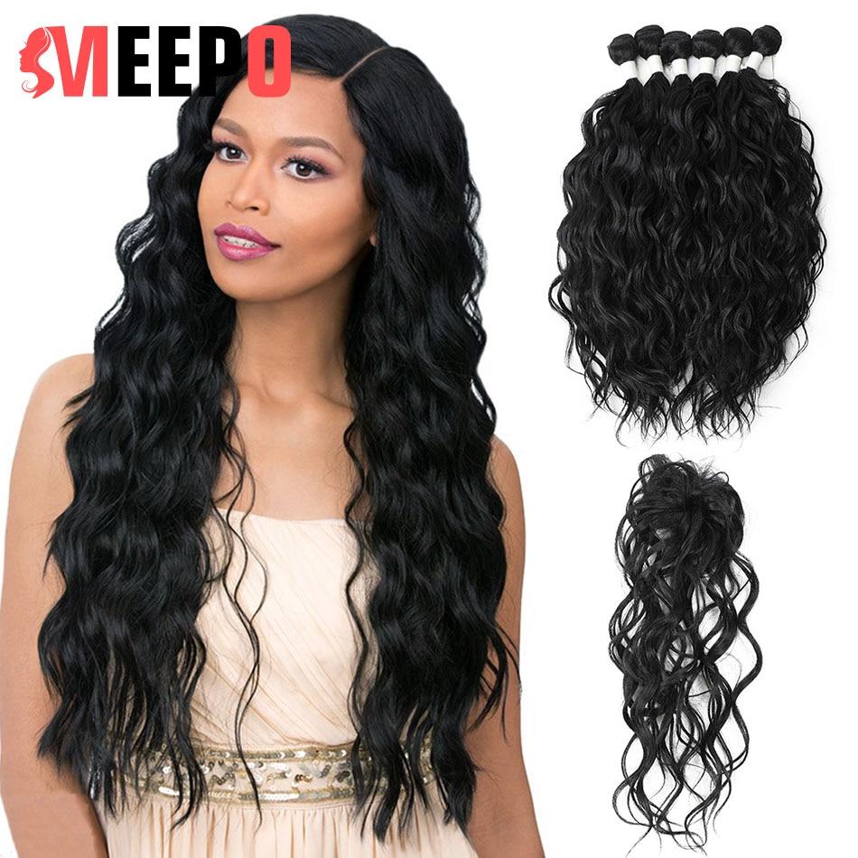 Meepo Synthetic Hair Bundles Natural Wave 6 Bundles(14*2+16*2+18*2) with Closure High Temperature Resistan Fiber Hair Extensions