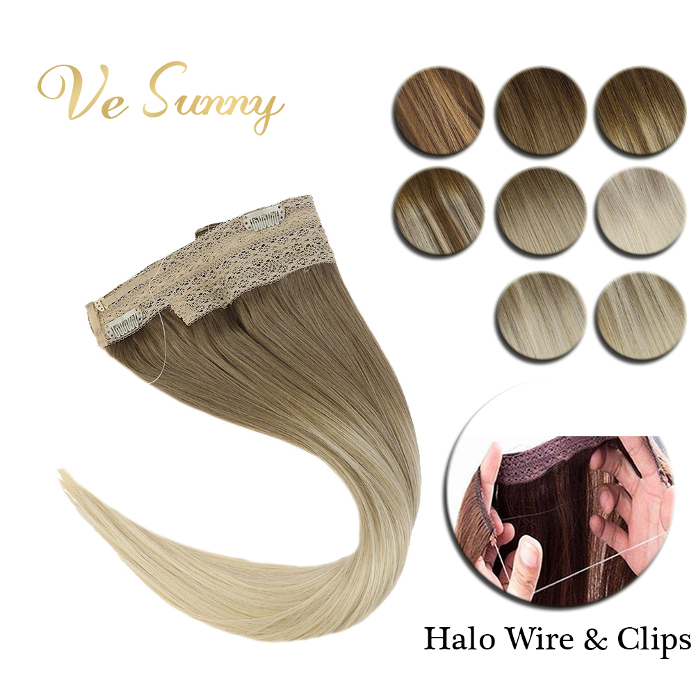 VeSunny Invisible Wire Halo Hair Extensions Human Hair Flip In Fish Line With 2 Clips On Balayage Light Root Blonde Hair