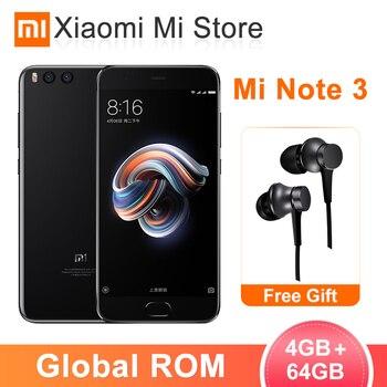 "In Stock Global ROM Xiaomi Mi Note 3 4GB 64GB Mobile Phone Snapdragon 660 Face unlock 5.5""Screen MIUI 9 16.0MP Front camera"