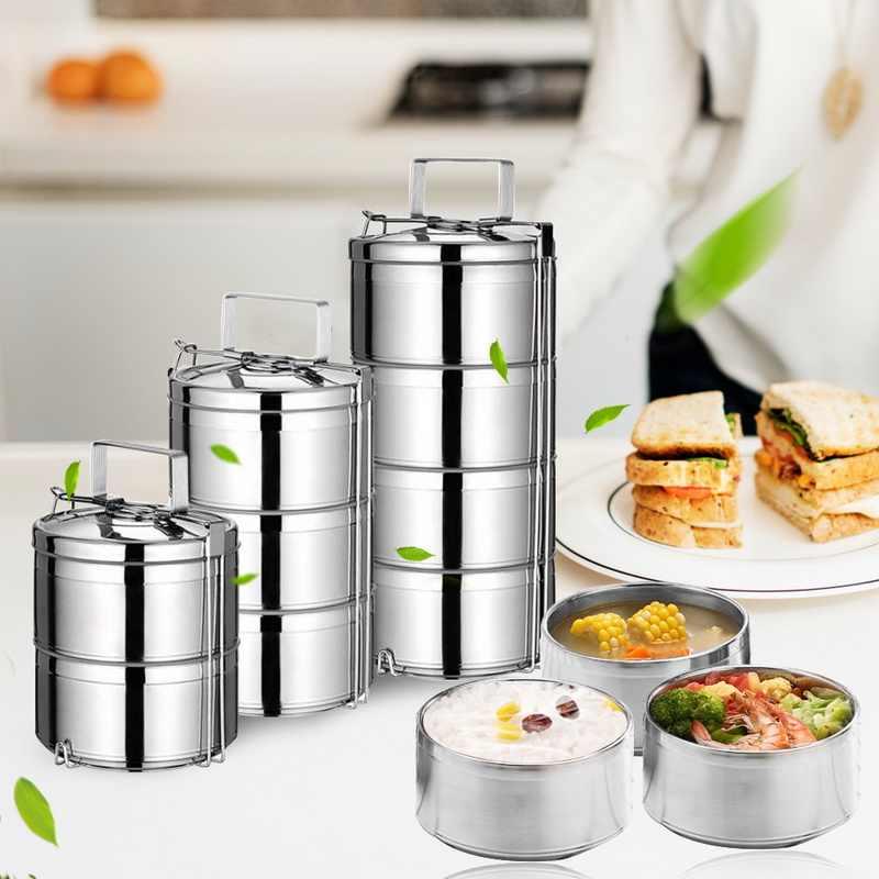 2/3/4 poziomy przenośne izolowane Lunchbox naczynia ze stali nierdzewnej termos pojemnik na jedzenie wieżowych Bento pudełko na Lunch dla szkoły
